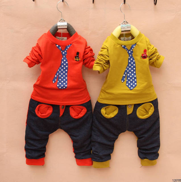 Hot sale 2014 the new retail boys fashion suit Free shipping children boy Fake tie clothes set  boys long-sleeved suit