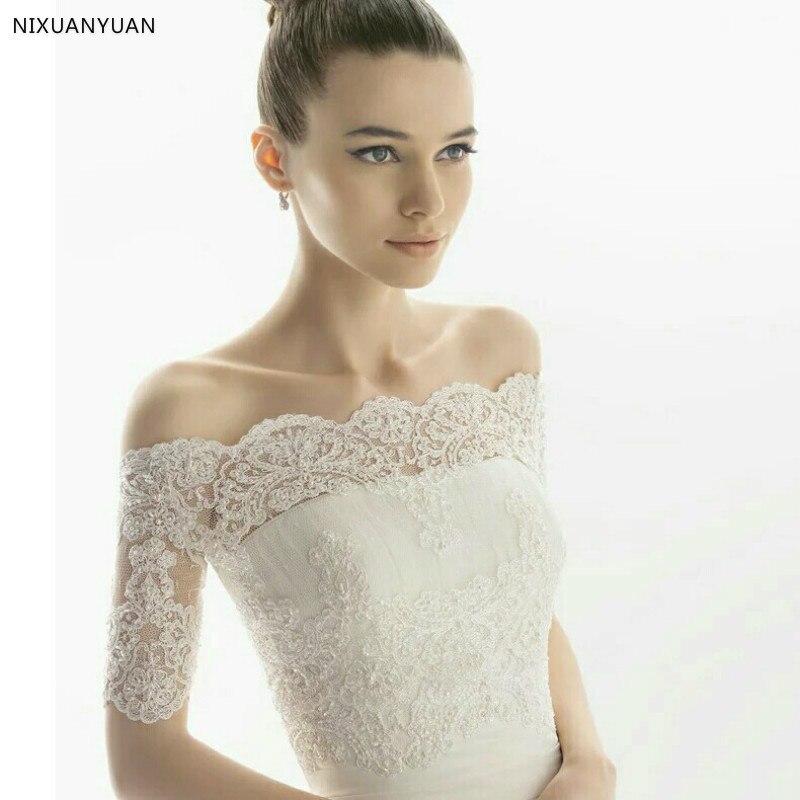 Élégant hors de l'épaule manches dentelle boléro veste romantique sur mesure mariée de mariage vestes 2019 femmes de mariage vestes