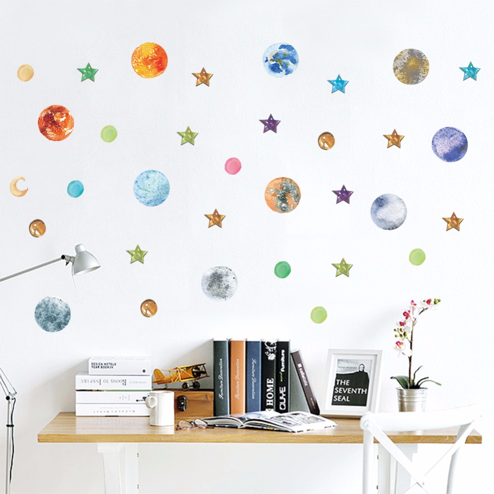 d582ce5f1793 New Design The Solar System Wall Stickers Decals Children Room Wall Decal  planets Space Galaxy Boys Bedroom Graphic