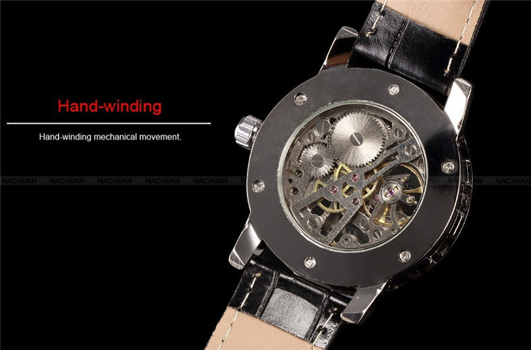 Image 4 - 2016 new hot sale skeleton hollow fashion mechanical hand wind men luxury male business leather strap Wrist Watch relogio-in Mechanical Watches from Watches
