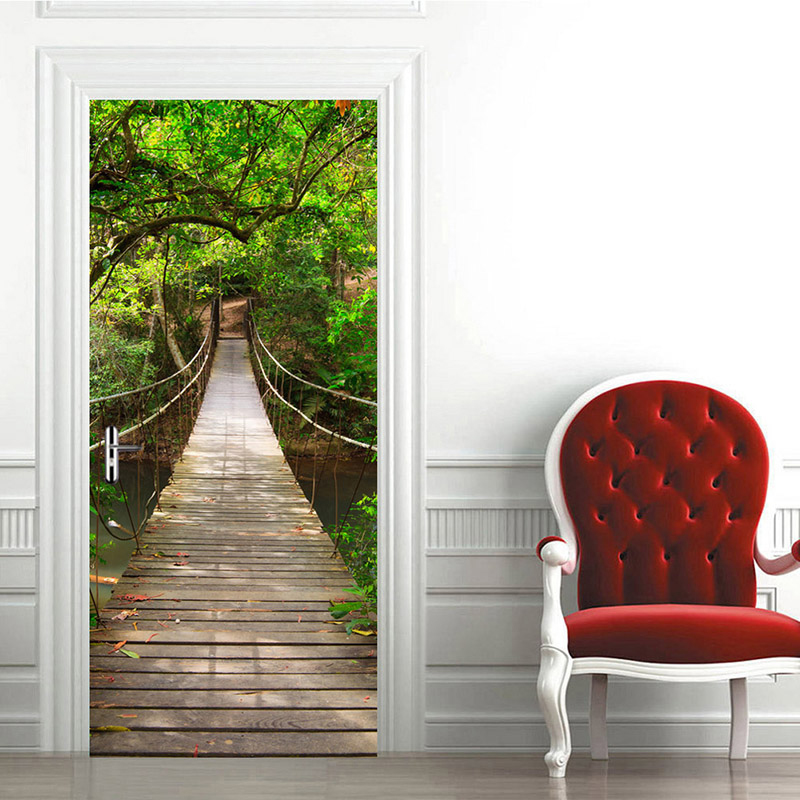 3D Door Sticker Mural Wall Paper For Bedroom Wood Suspension Bridge Large Murals Door Stickers Home Decor Poster Photo Wallpaper reed swaying pattern large wall stickers for bedrooms