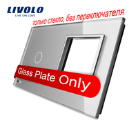 Livolo Luxury Grey Pearl Crystal Glass 151mm 80mm EU Standard 1Gang 1 Frame Glass Panel VL