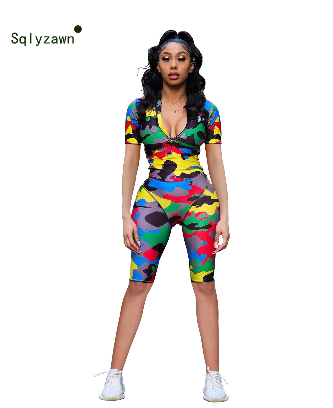 Colorful Camouflage Rompers Women Jumpsuit 2019 Summer Short Sleeve Front Zipper Plus Size Jumpsuits Street Camo Skinny Playsuit