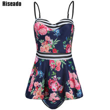 Купить с кэшбэком Riseado 2017 Ruffle Tankini Set Floral Swimwear Women Push Up Swimsuit Two-piece Swim Wear Bathing Suits Plus Size XXXL