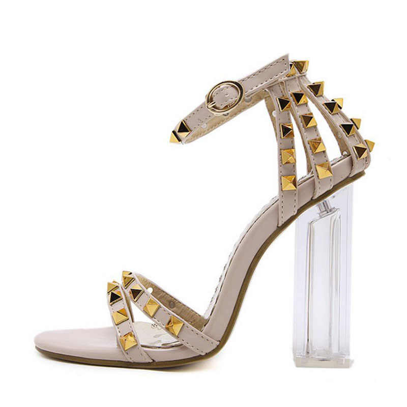 Coolcept Women High Heel Sandals 2019 Fashion Colorful Rivets Summer Shoes For Women Clear Heels Buckle Sandals Size 34-40