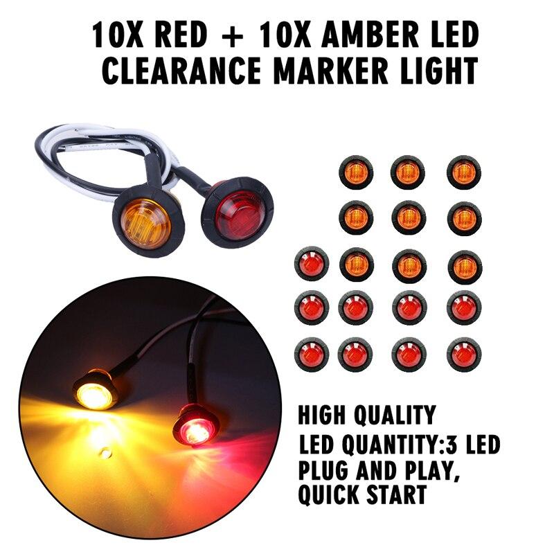 """Plug /& Grommet 10X 2/"""" Round 12V Red Led Light Trailer,Clearance Marker Lights"""