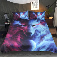 3D Animal Duvet Cover With Pillowcases Wolf Eye Bed Set 3pcs Art Print Bedclothes Where Light And Dark Meet Bedding Set