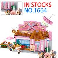 NEW Friends series restaurant Pet pig figures cartoon building blocks Educational toy gift for children figures bricks