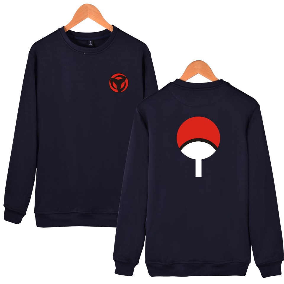 Luckydayf Black Naruto Anime Hoodies Pullover Printed Ninjia Uchiha Sweatshirts Men No Hood Sweat Homme Hoddies Male Autumn