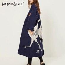 TWOTWINSTYLE Stork Female Cardigan Sweater for Women's Winte