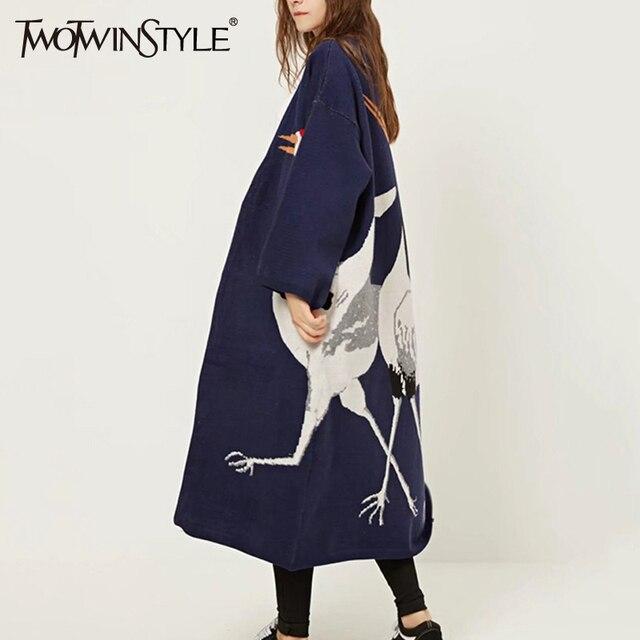 Twotwinstyle аист женский кардиган свитер для Для женщин зимние джемпер пальто кимоно Винтаж вязаный длинный плащ ветровка
