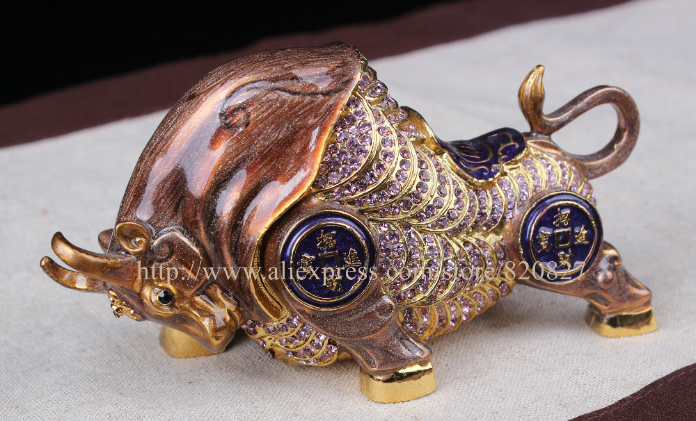 Fengshui YakTrinket Box Metal Animal Home Decor Display Feng Shui Cystals Animal with Coins Attract Wealth Yak Statue Figurine 8 chinese fengshui bronze copper five way mammon gold ingot snake wealth statue sd 506