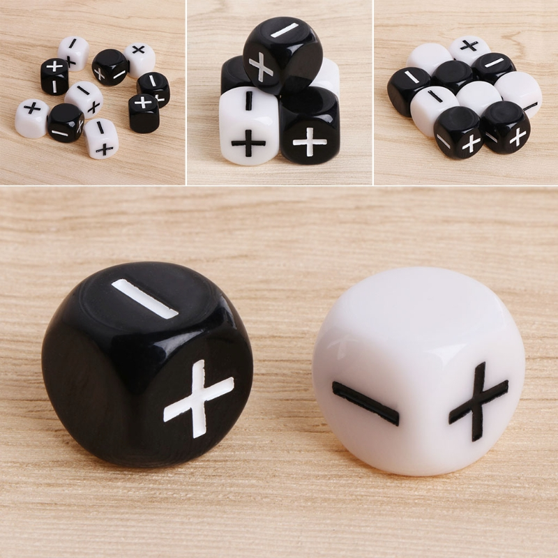 15mm Acrylic Cube Dice Beads Six Sides Portable Table Games Toy Add, subtract, multiply and divide 10pcs