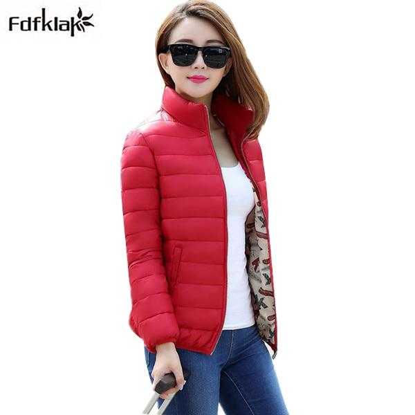 Fdfklak 2017 New Winter Jacket Women Slim Ladies Short Winter Coat Womens Autumn Thin Down Cotton Jackets for Women Parka L-3XL