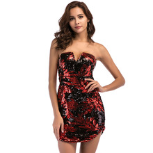 Women Sexy Strapless Red Sequin Dress Elegant Sleeveless Backless Mini  Nightclub Cocktail Party Dresses Short Vestidos 4d87cb462f47