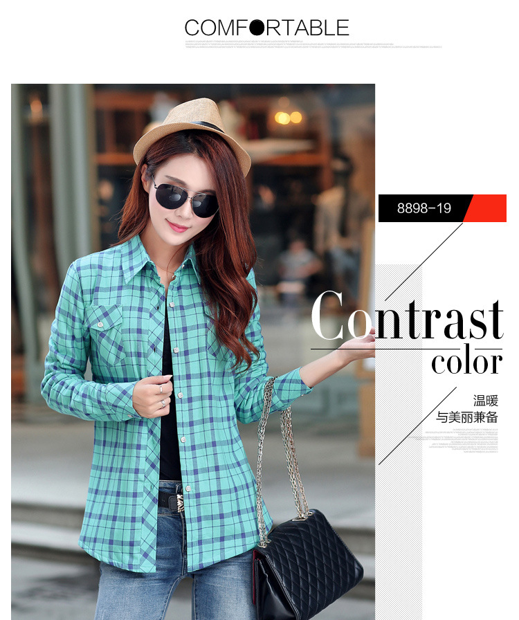 19 Brand New Winter Warm Women Velvet Thicker Jacket Plaid Shirt Style Coat Female College Style Casual Jacket Outerwear 38