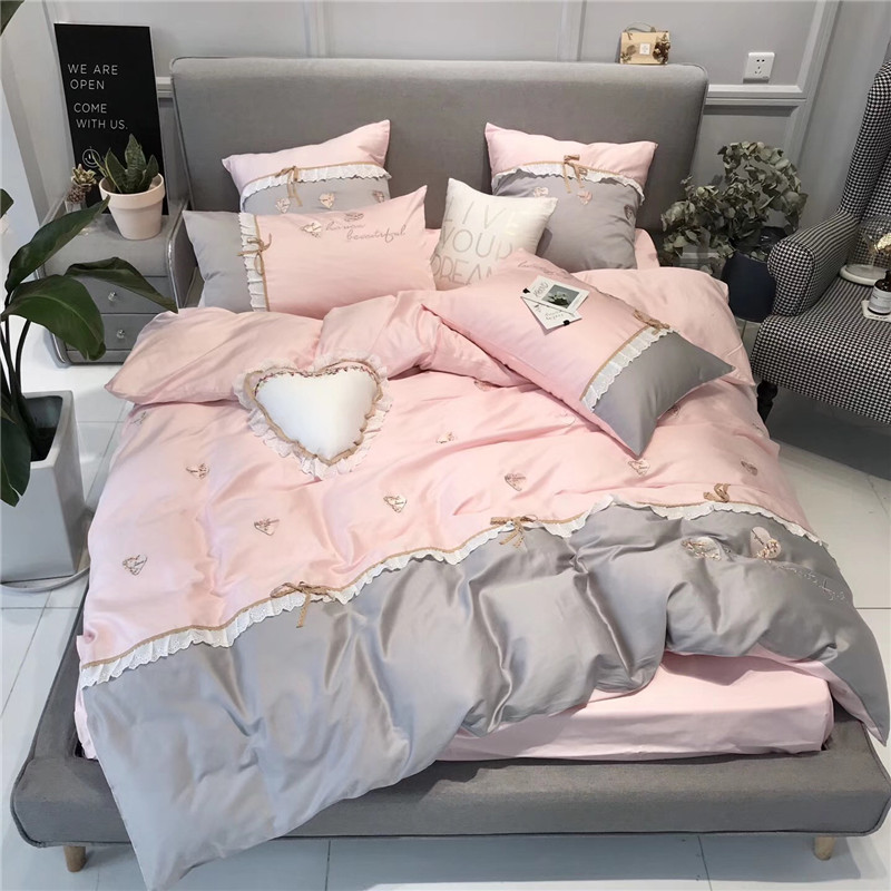 6d7fbbd356c Grey Pink Sweet princess Love embroidery Egyptian cotton Bedding Set Duvet  Cover Bed sheet Pillowcases King