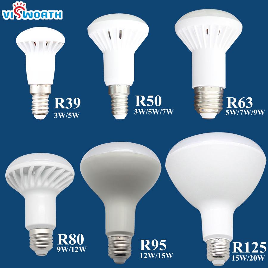 R50 Led lamp 3W 5W 7W 9W 12W 15W 20W Led Bulb E14 E27 Base R39 R63 R80 Br30 Br40 Spotlight AC 110V 220V 240V Warm Cold White r39 r50 r63 r80 led light 3w 5w 9w 12w e27 e14 umbrella led bulb cool white warm white ac85 265v dimmable spotlight lamp 1pcs