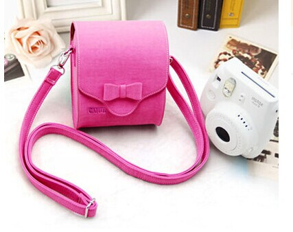 Free Shipping Instax Camera Bag With Bowknot For Fujifilm Mini 7s 8 25s 50 90