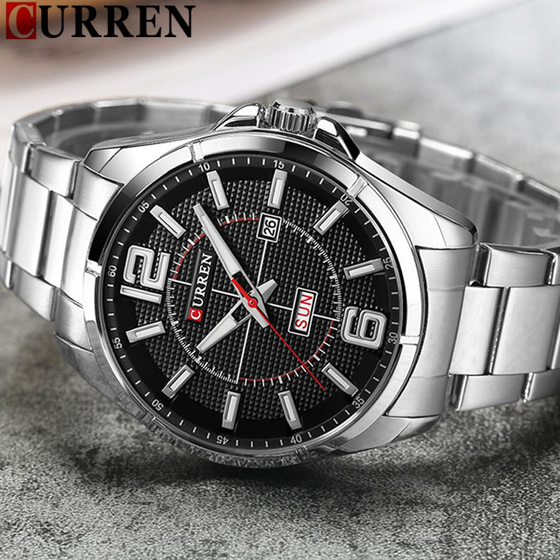 CURREN Date Week Men Watch New Top Luxury Brand Sport Military Business Male Clock Steel Band Wrist Quartz Mens Watches Hot 8271 2017 fashion men watches top brand luxury function date leather sport watch male business quartz wrist watch reloj hombre