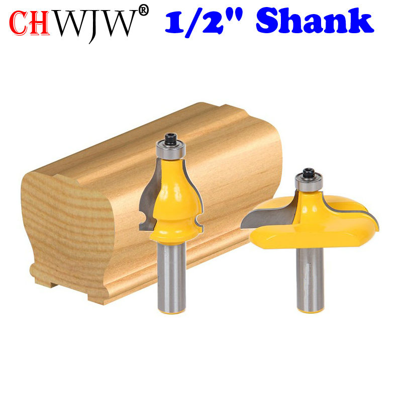 2 Bit Handrail Router Bit Set - Wavy/Bead - 1/2 Shank Woodworking cutter Tenon Cutter for Woodworking Tools 6pc 1 4 shank high quality round over router bit set 1 2 3 8 5 16 1 4 1 8 radius tenon cutter for woodworking tools