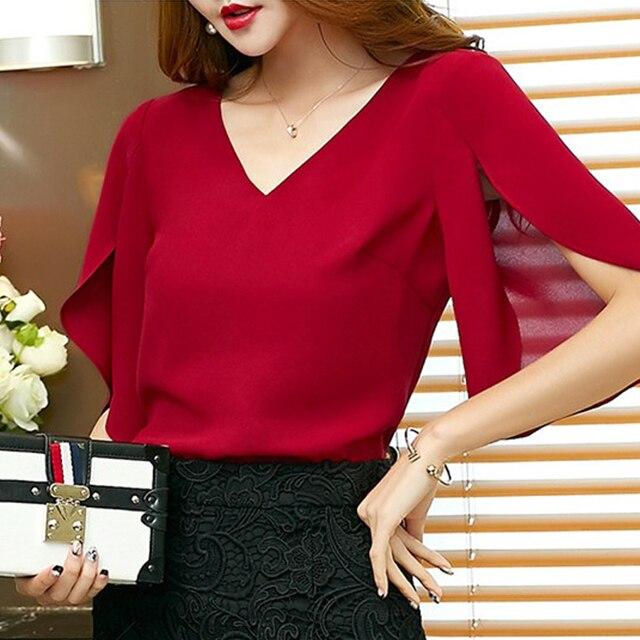 2019 chiffon women blouse shirt new Fashion Short flare Sleeve Women's clothing Sexy V-neck Plus Size lady tops blusas 900C 30 3