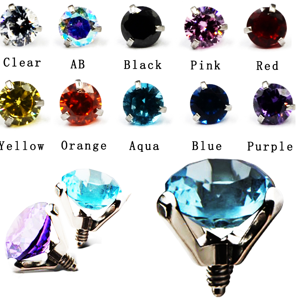Dermal Top and Anchor with Cubic Zirconia 4PCS