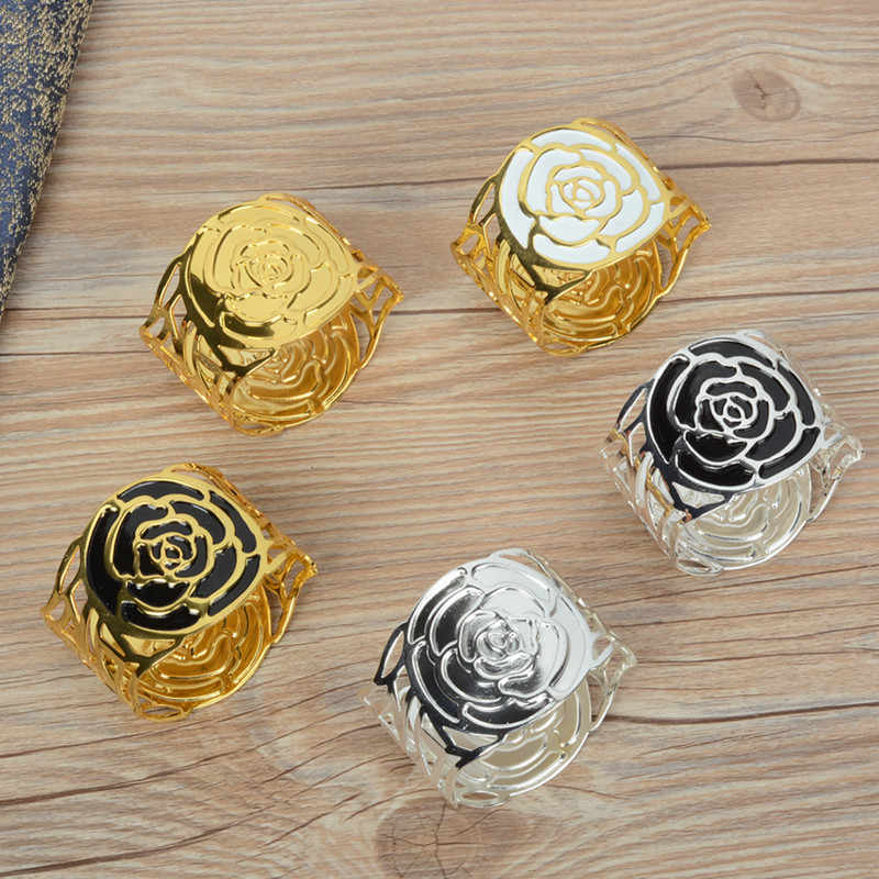 Metal alloy napkin rings gold and silver color for table decoration table napkin rings wholesale metal shiny colour