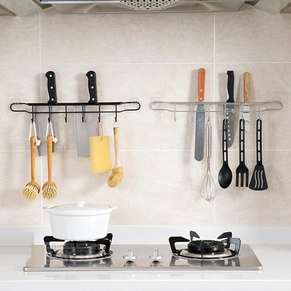 Kitchen Storage Rack Knife Spoon Egg Beater Holder Wall Mount Hooks Organizer Wall Mounted Kitchen Racks