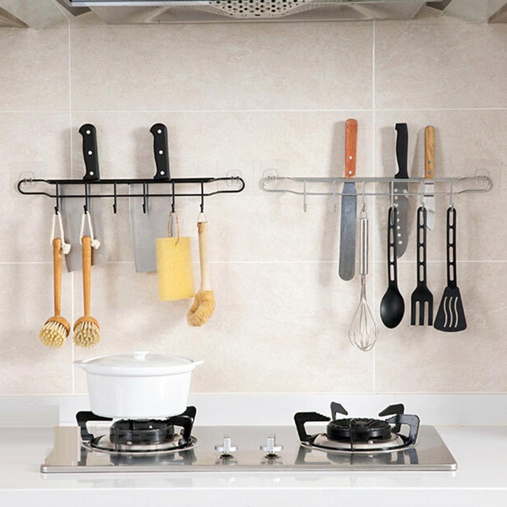 Kitchen Storage Rack Knife Spoon Egg Beater Holder Wall Mount Hooks Organizer Wall Mounted Kitchen Racks