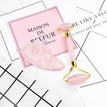 Portable Rose Quartz Facial Massage Crystal Stone Lift Jade Roller Skin Care Roller Wrinkle Removal Beauty Tool Face Massager