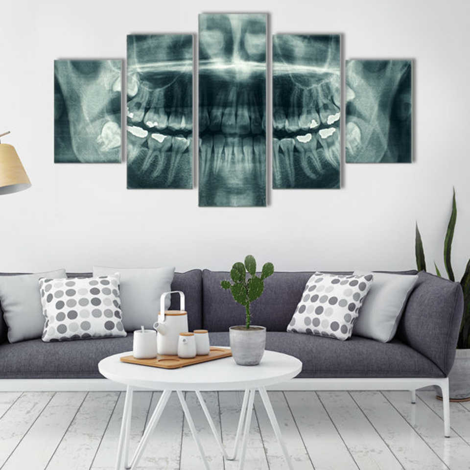 Picture Wall Popular Art Home Decoration 5 Panel Dental Canvas Oil Painting Modular For Living Room Modern Printing Type