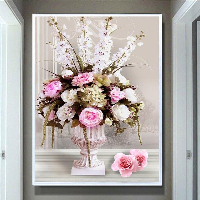 Zozack подсчитывали напечатаны на ткани diy dmc крестиком схема вышивки крестом комплект для вышивания роза ваза наборы home decor вышивка крестом рукоделие