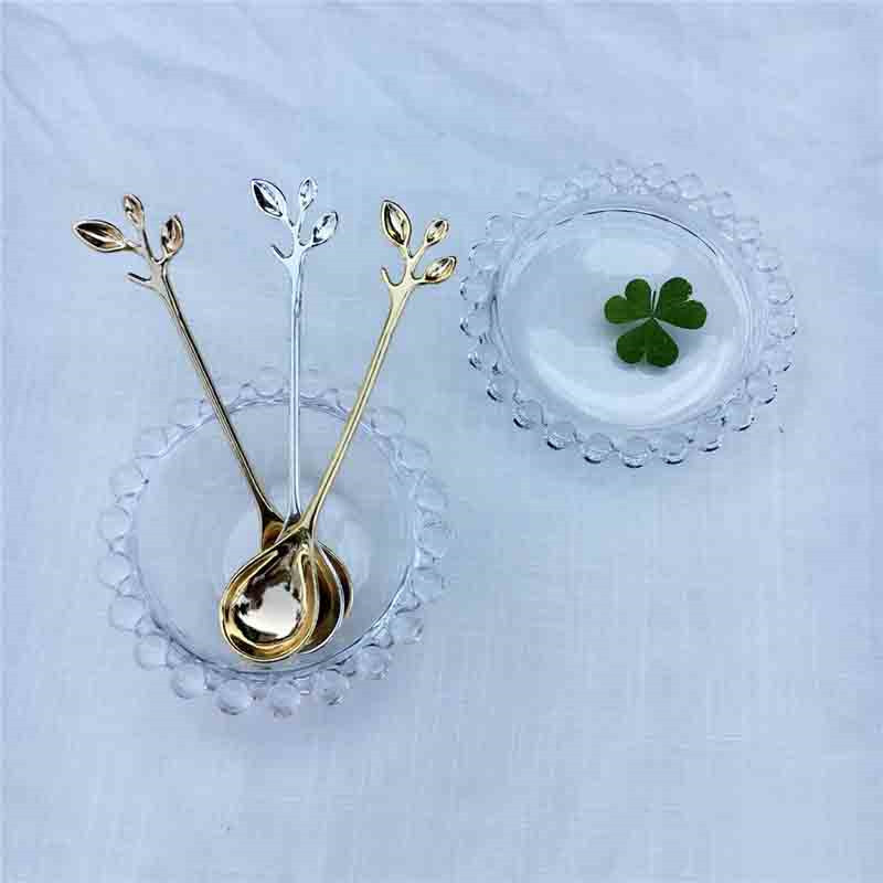 1 PCS Exquisite Branch Shape Small Coffee Spoon Royal Style Flatware for Snacks Kitchen Dining Bar Mini Dessert Spoon in Coffee Scoops from Home Garden