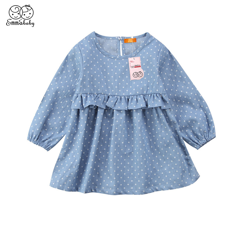 Lovely Toddler Kids Newborn Baby Girls Dress Denim Dot Printed Clothes Ruffle Princess Party Tulle Long Sleeve Dresses