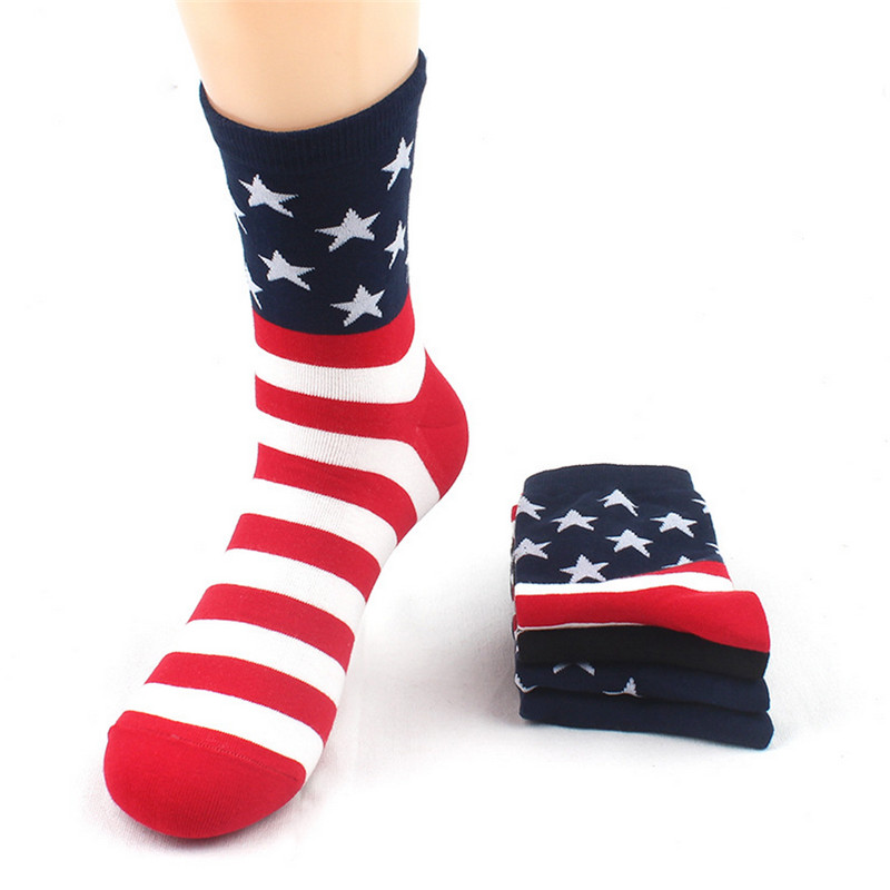 Hot sale! men socks high quality 4 pairs/lot autumn-winter cotton striped socks fashion national flag male and men's socks