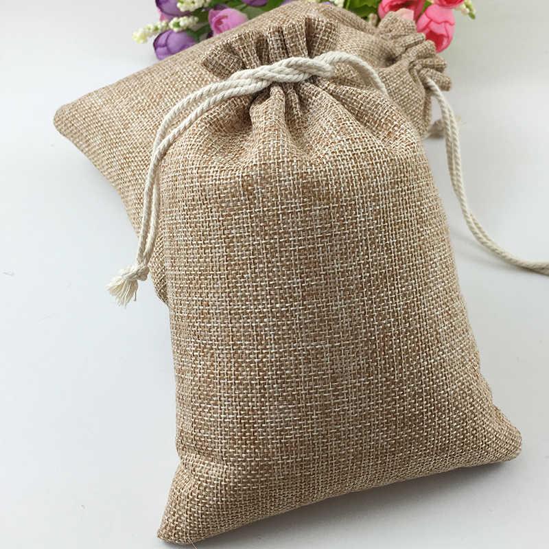 1pcs Vintage טבעי יוטה Hessia מתנת סוכריות שקיות לטובת מסיבת חתונת פאוץ יום הולדת אספקת שרוכים יוטה מתנת שקיות