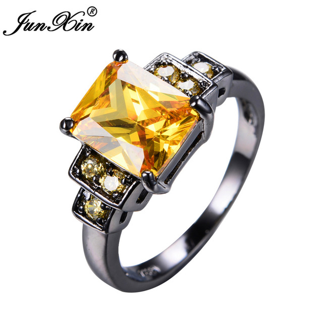 Junxin Male Female Yellow Ring Black Gold Filled Vintage Wedding