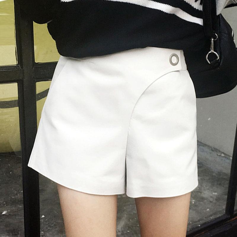 Top Brand Women Casual High Waist Shorts Black White Slim Fit Trousers Female Designer Genuine Leather Wide Leg A Line Short
