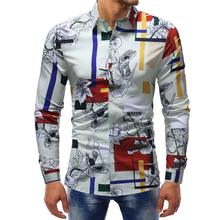 good quality long sleeve mens fashion dress shirts 2018 cotton tuxedo shirt men floral print design