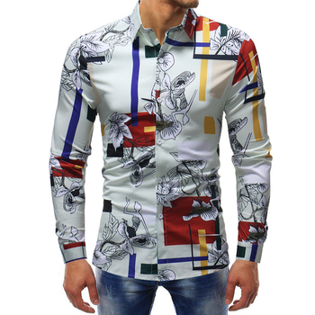 good quality long sleeve mens fashion dress shirts 2018 cotton tuxedo shirt men floral print men shirt design random floral print self tie design dress