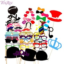 FENGRISE Photo Booth Props 60 Pieces Wedding Party Decor Funny Mustache Photobooth Birthday Party Decoration Kids
