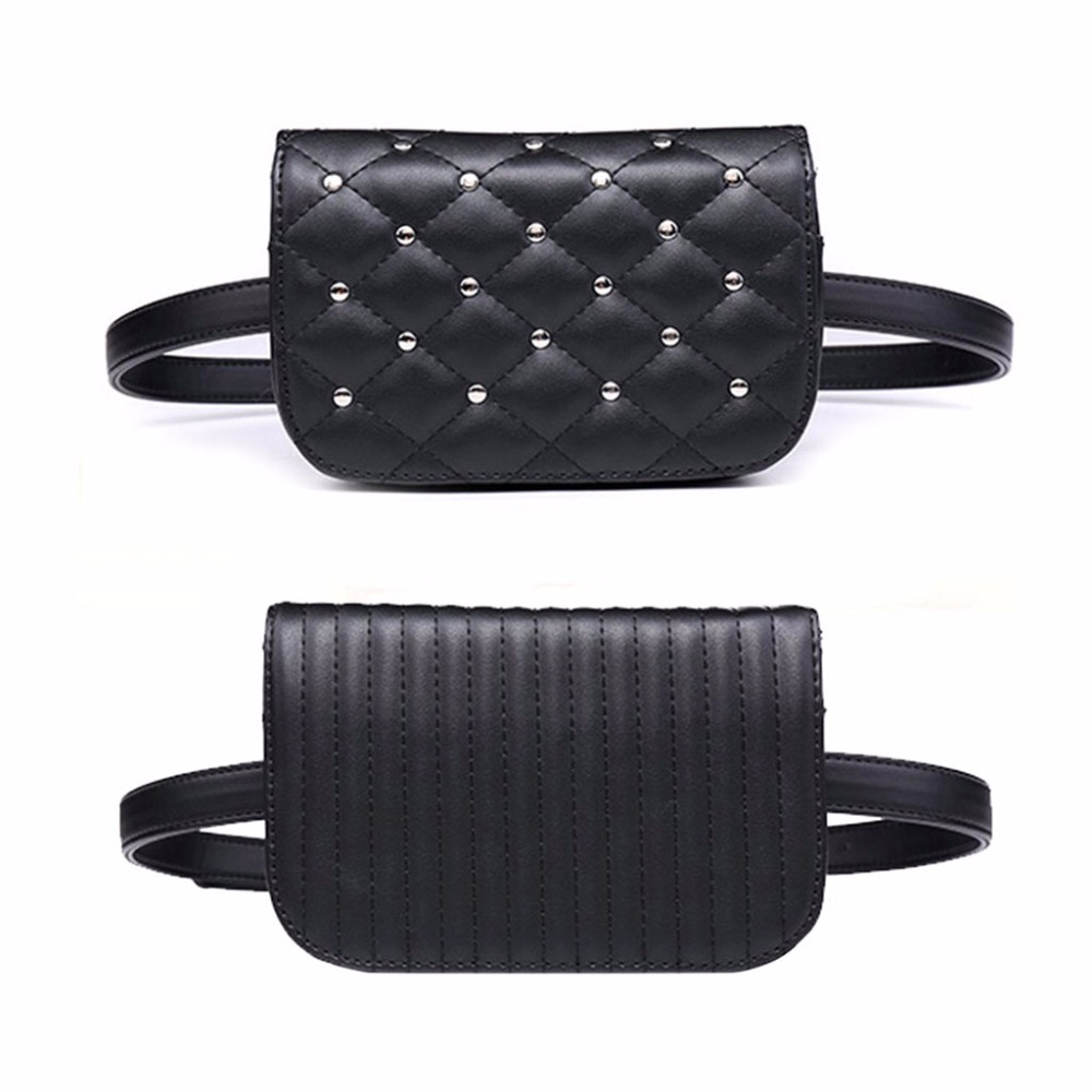 Fashion Women Leather Fanny Pack Black Waist Bag Elegant Rivet Fanny Pack Bum Bag Waist Pouch Money Holder Black THINKTHENDO omnilux om 584 oml 58407 05