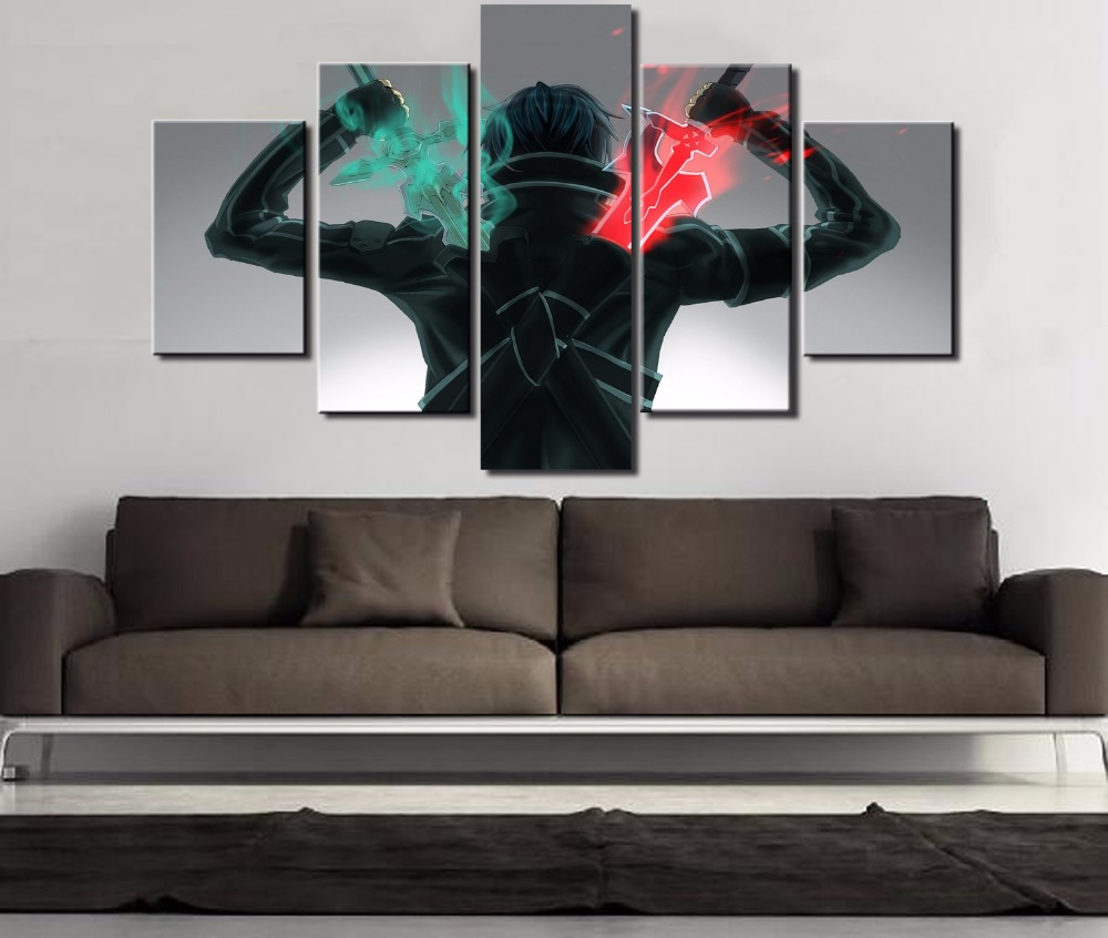 Home decor paintings - 5 Piece Hd Print Sword Art Online Modern For Home Decor Paintings On Canvas Wall Art For Home Decorations Wall Decor Artwork In Painting Calligraphy From