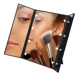 Tri fold illuminated led lighted vanity mirror makeup wide view portable travel pocket compact led mirror.jpg 250x250