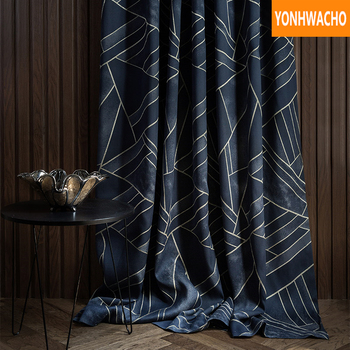 Custom curtains Simple modern American cotton linen bedroom gold silk luxury  cloth blackout curtain tulle drape B117