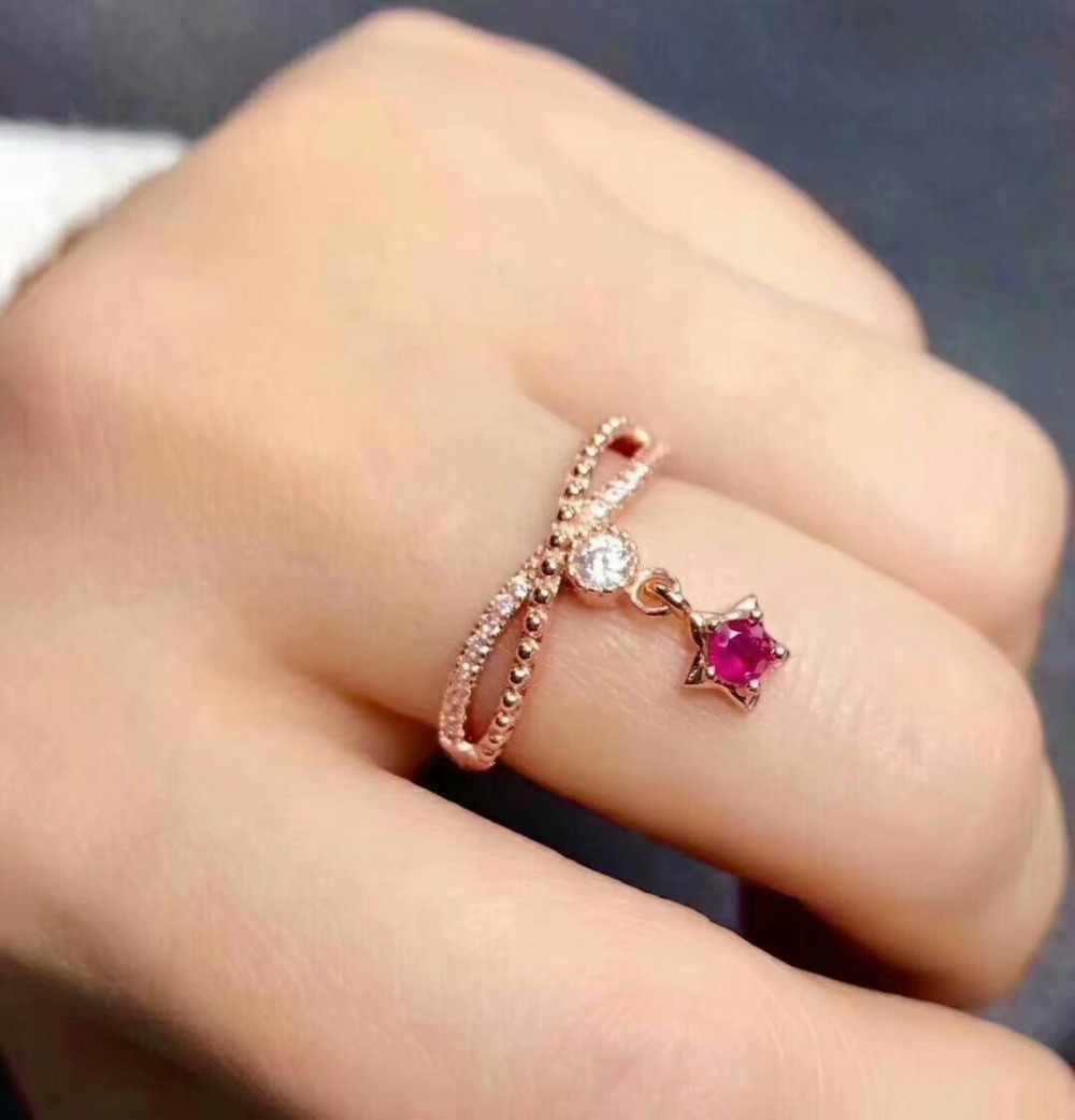 Shilovem 925 เงินสเตอร์ลิงธรรมชาติทับทิมแหวนเครื่องประดับปรับแต่งผู้หญิงอินเทรนด์ชาติพันธุ์งานแต่งงานเปิด mymj3.53.501agh