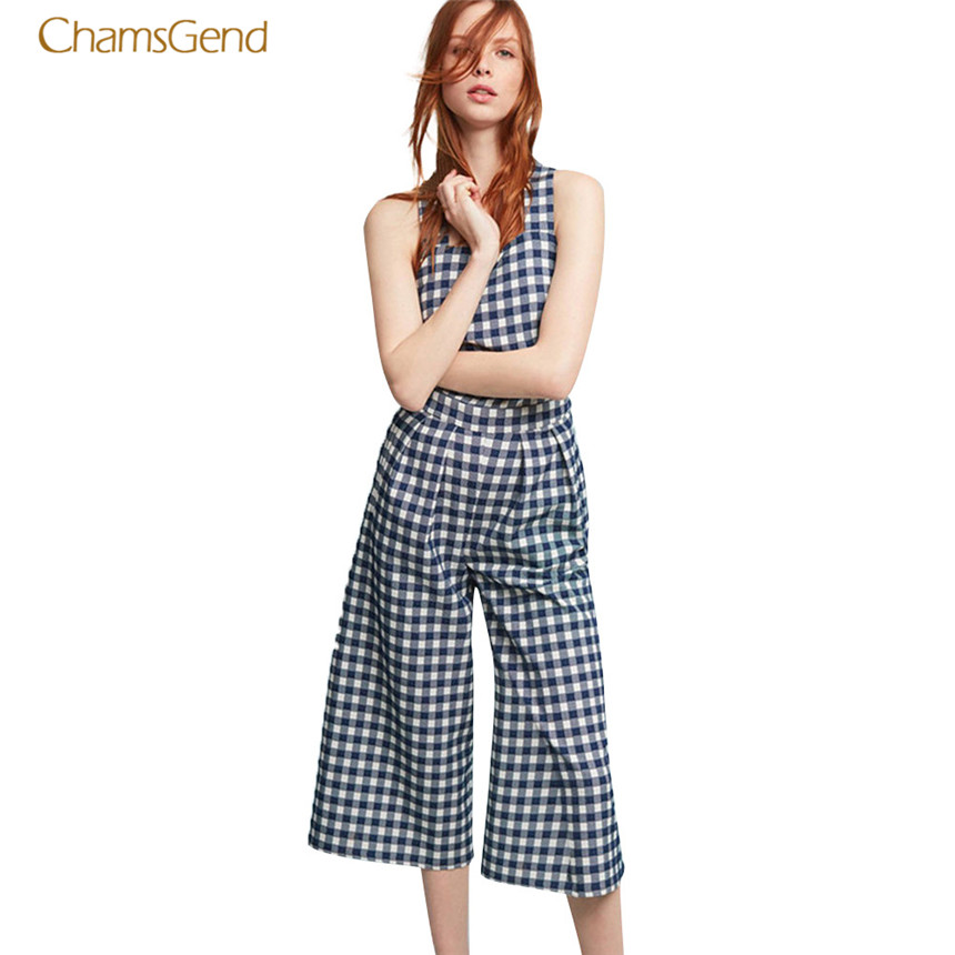 CHAMSGEND 2017 Women Jumpsuits Causal Style Plaid Summer Rompers Female Cooton Jumpersuits Sleeveless Beach Female Rompers Tops