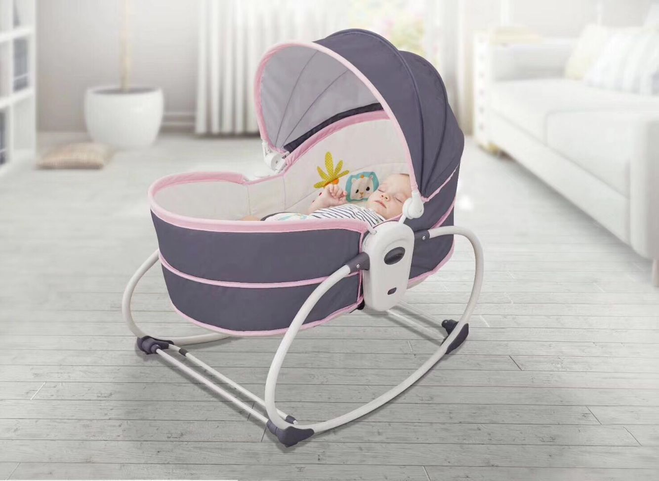 Mastela Five-in-one Electric Rocking Chair , Hand-held Basket For Infants, Crib, Bassinet, Sleeping Basket With Mosquito Net