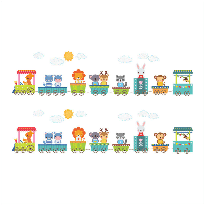 Cartoon Animal Car Train Wall Stickers For Kids Rooms